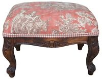 Vintage Country French Toile Upholstered Foot Rest Ottoman Stool Pouf Bench Seat