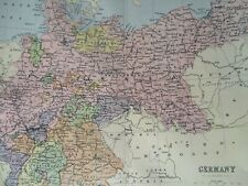 Germany Original Antique Encyclopaedia Map Vintage Old Map Empire Prussia