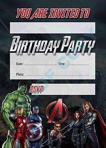 #43 AVENGERS MOVIE Pack of 10 kids children birthday party INVITATIONS