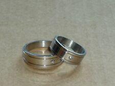 RING EDELSTAHL 2 Stück PARTNERRINGE mit STEIN in der Mitte RING NEU GR 16-22