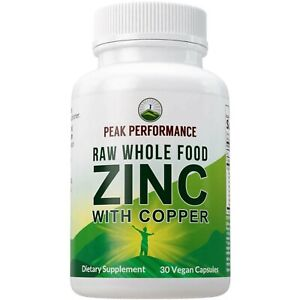 Raw Whole Food Zinc with Copper + 25 Organic Vegetables and Fruit Blend for M...