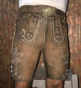 Trachten Lederhose kurz bayrische Lederhose antik braun mit Gürtel Gr.44