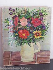 Huile sur toile pot de fleur signée Guérard