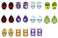 Genuine Topaz Garnet Citrine Amethyst Peridot 925 Sterling Silver Stud Earrings