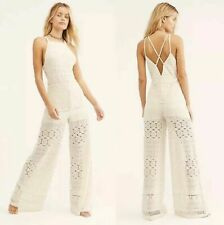 NEW $287 Free People Moon Bay Crochet One Piece Jumpsuit Ivory Size Small S