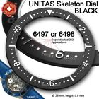 DIAL SKELETON INDEX RING  38 mm MOVEMENT ETA UNITAS 6497, 6498, BLACK OR WHITE