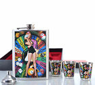 COFFRET FLASQUE FLASK 4 GOBELET ENTONNOIR ACIER INOXYDABLE UP CASINO ZAZA2CATS