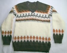 Vintage Sweater Alpacas/Llamas retro warm 70s sweater V neck Brown and Ivory
