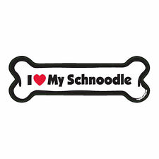 I Love My Schnoodle Dog Bone Car Magnet