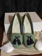 Anthropologie Charles Philip Shanghai Tassel Loafer Sage Suede Sz 7 New with box