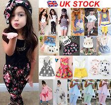UK Stock Baby Kids Girls Headband T-shirt Pants Dress Summer Outfits Clothes Set