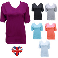 LADIES DESIGNER PLAIN EMBROIDERED T-SHIRT TOP, COTTON RICH, V-NECK, SIZES 10-24