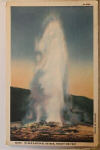 Yellowstone National Park Old Faithful Geyser Postcard Old Vintage Card View PC