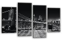Brooklyn Bridge Wall Art New York Skyline Black and White Canvas Split Panel New