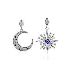 Fashion Solid 925 Sterling Silver Blue Zircon Moon Star Ear Drop Earrings