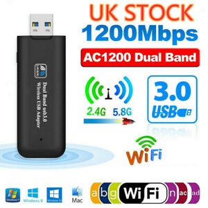 1200Mbps USB 3.0 Wireless Network Receiver WiFi Adapter Dual Band Dongle UK