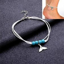 Fashion Boho Style Pendant Turquoise Mermaid Tail Multi-layer Beaded Ankle Chain