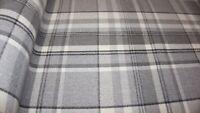 Dove Grey Balmoral Wool Effect Tartan Upholstery Curtain Fabric Plaid Fabric