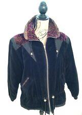 Vintage VELVET Winter Jacket Coat Quilted Size S CURRENT SEEN Floral 1980s