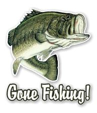 Gone Fishing Largemouth Bass Fish Decal / Sticker Die cut