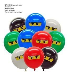"""10PCS 12"""" Ninjago Printed Latex Balloons Kids Birthday Party Decoration Loot Bag"""