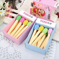 8 pcs Novelty Lovely Match Shape Pencil Eraser School Office Stationery Kid DSUK