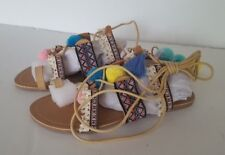 Women's Qupid Colorful Pom Pom Lace Up Tan Sandals, Size 7.5 M