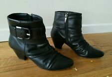 AIRFLEX Black Leather Zip Up Ankle Boots VALENT Size AU 8 - like new