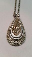 Vintage Monet Pendant Necklace Silver