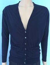 John Smedley Men's Cardigan Navy Blue Buttons Pockets Extra Fine Merino Wool S