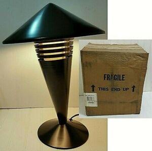 NOS Vintage ART SPECIALTY Black Table Lamp MCM UFO Mushroom Rocket Desk Lighting