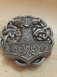 Buckle Club Pewter Finish Mjolnir Thor's Hammer Viking Norse Belt Buckle New