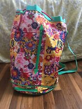 Oilily Colorful Floral Bucket Bag Drawstring Strap Multi Compartment