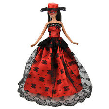 Fashion Black Lace Dress Wedding Dress Luxury Doll Clothing for 29cm Dolls