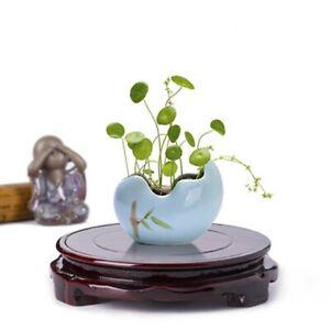 Matte Rotating Imitation Wooden Round Ceramic Aquarium Flower Vase Base Stand