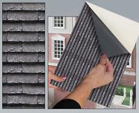 SELF ADHESIVE DOLLS HOUSE WALLPAPER 1.12th VINYL SHEET Roof Tile Grey Slate - 56