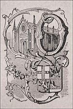1871:ORVIETO, MINIATURA STEMMA ARALDICO CITTA+Passepartout.Cento Citta,Ariodante