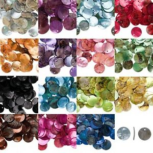 15 Iridescent Mussel Sea Shell Flat Round Coin Drop Charm Thin Disc Beads w/Hole