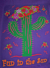 "PURPLE T SHIRT large WITH A CACTUS WEARING A RED AND FLOWERS ""FUN IN THE SUN"""