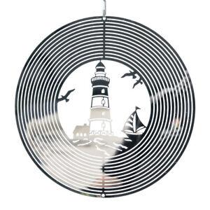 CIM Windspiel Mirror Leuchtturm Ø20cm Edelstahl Maritim Gartendeko hängend