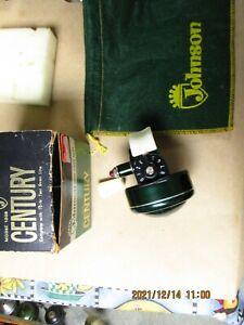 Vintage Johnson Century Model 100B Spin Cast Fishing Reel - nice In Box & bag