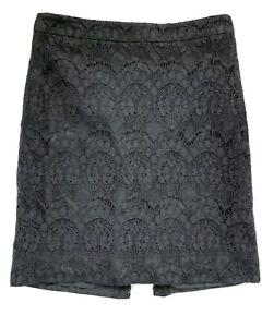 NWOT J.Crew Black Lace Pencil Skirt Size 00 Petite