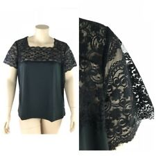 Jessica London Top Women Plus 26 28 Stretch Lace Sheer Sleeve Square Neck New