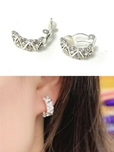 Girls Womans Silver Diamante Clips Clip On Earrings Bridal Non Pierced UK Gift