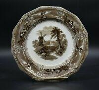 "G Wooliscroft English Staffordshire Eon Brown Transferware 9 1/2"" Dinner Plate"