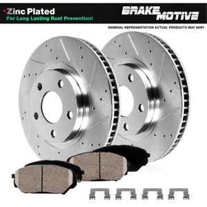 Front Drill Slot Brake Rotors + Ceramic Pads For 2013 2014 Mustang Shelby GT500