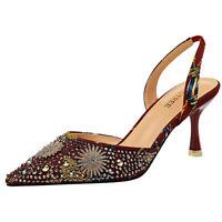 Women Slingbacks Sandals Embroidery Retro Pointed Toe Kitten Heel Pumps Shoes
