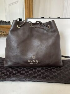 100% AUTHENTIC Gucci Gifford Brown Leather Tote Shoulder Monogram Logo Bag