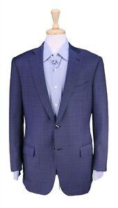 Ermenegildo Zegna Recent Navy Blue Plaid 2-Btn Wool Sportcoat Blazer 40R