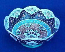 "Persian Mina Kari Painted Handmade Fine Art Copper Enamel Small Bowl 2"" H"